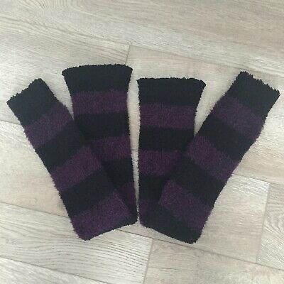 Women's Leg Warmers Ballet Dance Striped Above Knee Purple Black Stretchy Thick