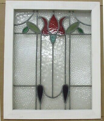 MIDSIZE OLD ENGLISH LEADED STAINED GLASS WINDOW Pretty Tulip 19.75' x 24.25""