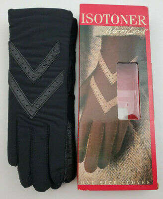 VTG Aris Isotoner Warm Lined Driving Gloves Style #24011 Black One Size