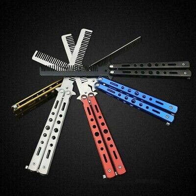 Stainless Steel Butterfly Balisong Comb Trainer Training Knife Dull Tool Hair