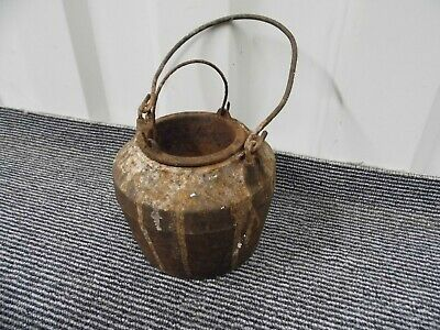 "Antique Glue pot with liner made by Kenrick & Sons 9"" tall with handle up , 2kg"