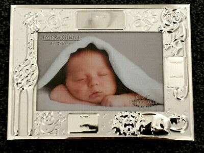 Personalised Engraved Birth Record Silverplated Silver Photo Frame Baby Boy Girl
