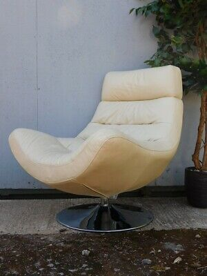 A Stunning Contemporary Cream Leather Swivel Chair Armchair