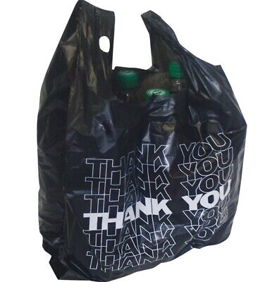 """1500x Black """" Thank You """" Extra Strong Carrier Bags Bags Bag Pockets Kiosk"""