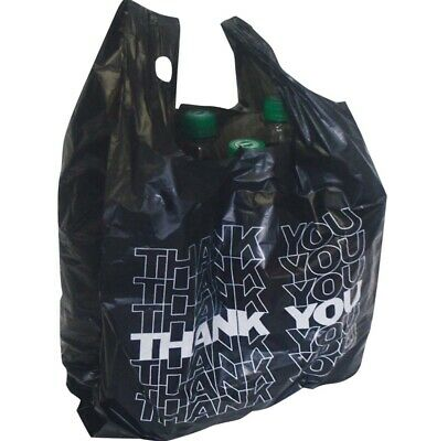 """1.000x Black """" Thank You """" Extra Strong Carrier Bags Bags Bag Pockets Kiosk"""