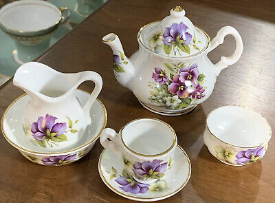 Vintage Norfolk Royal Fine Bone China 6 Piece Miniature Tea Set England
