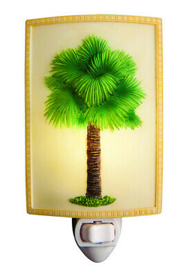 Elegant Fan Palm Tree Night Light Coastal Beauty Bonded Marble