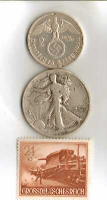 #-10-)-*rare WWII-*German Stamp+ *US and  *German SILVER EAGLE  - coins