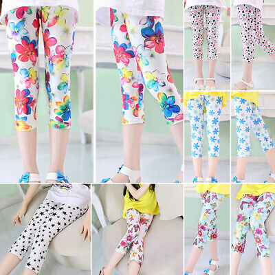 Womens Cotton Leggings 3/4 Length Cropped Summer Pants Cyclist Floral Printed