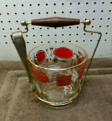 Mid Century 1960s Barware Glass & Wire Caddy Ice Bucket W Tongs