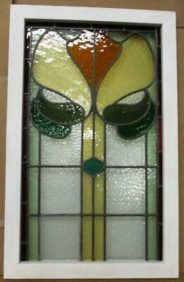 "LARGE OLD ENGLISH LEADED STAINED GLASS WINDOW Floral with Border 20.25"" x 32"""