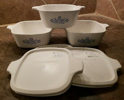 3 Vintage CORNING WARE Blue  Cornflower P-43-B Petite W/New Lids 22oz
