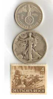 #-1-)-*rare WWII-*German Stamp+ *US and  *German SILVER EAGLE  - coins