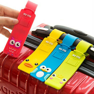 1pcs Cute Silicone Cartoon Luggage Tags Suitcase Baggage Label with Name Address