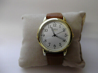 Limit mens gold tone round dial quartz watch with tan brown strap