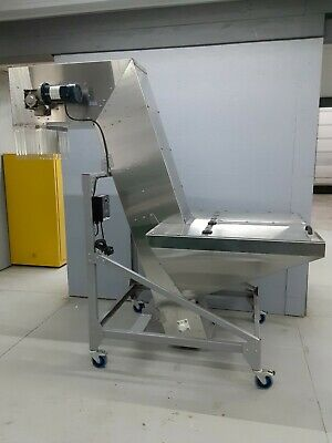110V Variable Speed Stainless Steel Feed Hopper Elevator Incline Conveyor