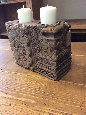antique indian Wooden Candle Holder