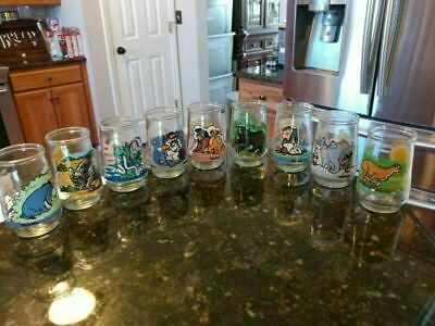 Lot of 9 Vintage Welch's Jelly Jar Glasses Assorted Collectibles Fun Kids