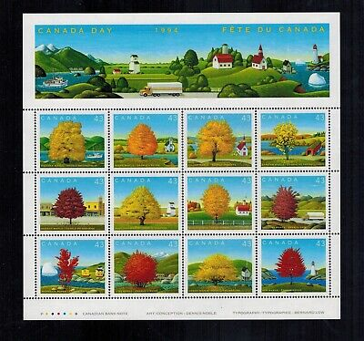 Canada Stamps #1524 Souvenir Sheet or Pane of 12 Maple Trees MNH