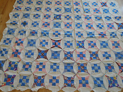 """HIDDEN CIRCLE QUILT TOP hand pieced sewn vintage fabrics 65""""x82"""" FEED SACK 1930s"""