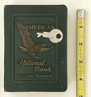 Antique 1923 Advertising Book Bank AMERICAN NATIONAL Eau Claire Wis w/key Eagle