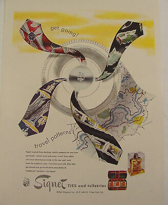1947 SIGNET TIES Travel Patterns Ad GREAT ARTWORK!