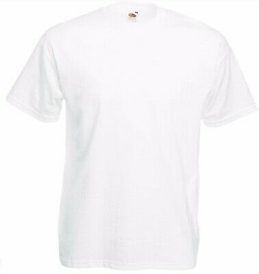 Fruit of the Loom White Mens T-Shirt 100% Cotton plain shirt SIZE MEDIUM