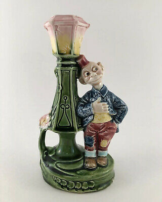 Happy Hooligan MAJOLICA Candlestick Holder Early 1900s