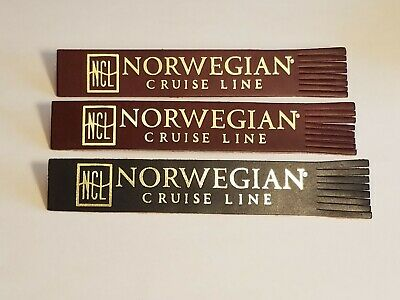 3 Vintage Leather Norwegian Cruise Line Bookmarks