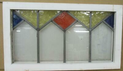 "OLD ENGLISH LEADED STAINED GLASS WINDOW Pretty Geometric 23.5"" x 13.25"""