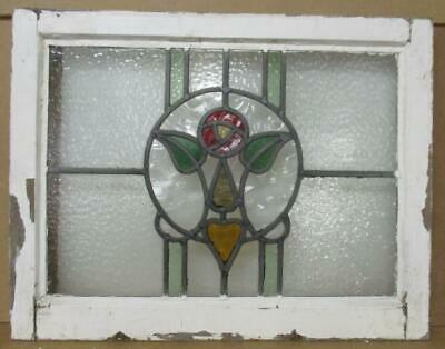 "OLD ENGLISH LEADED STAINED GLASS WINDOW Pretty Rose & Heart 23.75"" x 18.5"""