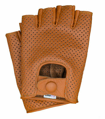 Riparo Glove / Half-Finger /Mesh/ Cognac LEATHER NEW/SEALED Woman~sz8 Driv~cycle