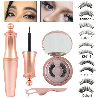 Magnetic Eyelashes False Eye Lashes Extension Liquid Eyeliner and Tweezer NEW