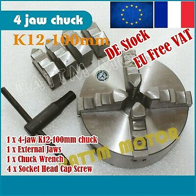 K12-100mm Lathe Chuck 4 Jaw Chuck Tool Self-Centering for CNC Lathe Milling【FR】