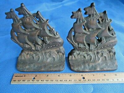 Pair Vintage Cast Iron Ship Bookends Brass or Bronze Plated