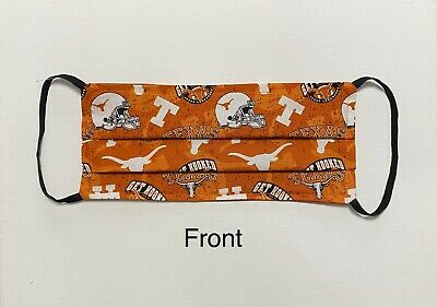 Texas Longhorns Face Mask Washable Reversible Elastic Band Handmade (Get Hooked)