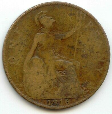 UK 1916 Bronze Penny (95% Copper) Pence Great Britain ----- EXACT COIN SHOWN