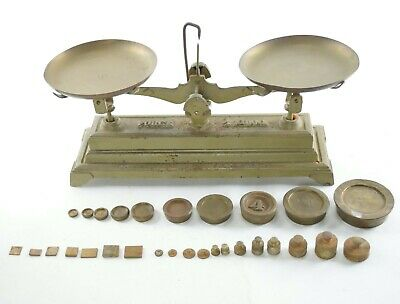 Antique Brass Scale Balance with Weight Sets - France