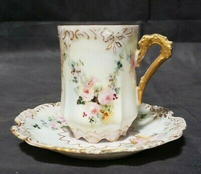 Antique Eglantine Hand Painted Porcelain Germany Chocolate Cup & Saucer