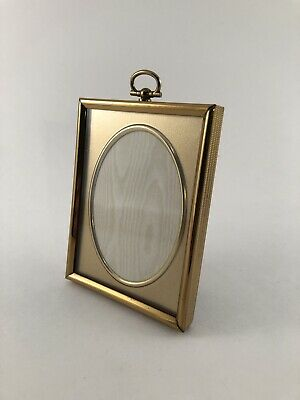 """Vintage CARR Gold 3x4"""" Picture Frame with Hinged Loop Top & Removable Stand"""