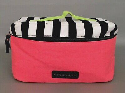 VICTORIA'S SECRET Pink Black Canvas Lingerie Travel Case Bag For Bras Panties