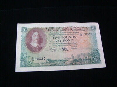 South Africa 1959 5 Pounds Banknote VF Pick #96c