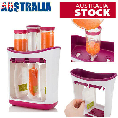 Infant Baby Feeding Food Squeeze Station + 10X Pouches Fruit Maker Dispenser AU