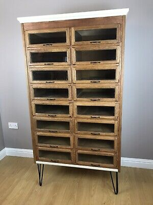 1940's Vintage Oak Haberdashery 16 Drawer Cabinet Wine Rack Bathroom Bedroom