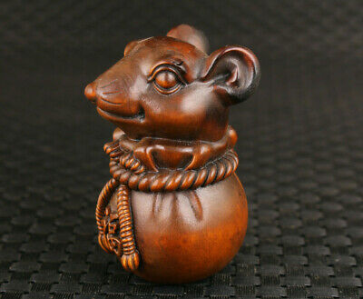 Lovely Chinese old boxwood hand carved fortune mouse statue netsuke collectable