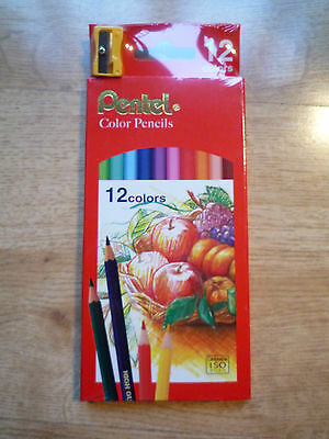 Pentel 12 Colours Color Pencils with sharpener for drawing design sketch school