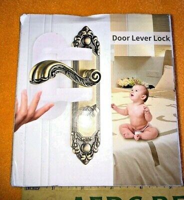 US 2pc Baby Door Lever Lock Child Toddler Proof Safety Doors Handles 3M-Adhesive