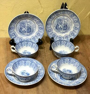 """Set 4 Antique Staffordshire Child's Toy Cup & Saucers,""""GIPSEY"""" Pattern, Hackwood"""