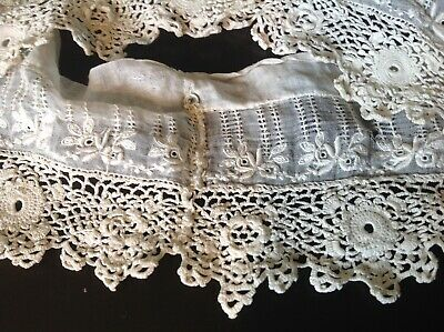 Vintage Antique 1800s Irish Lace & Embroidery Collar Cuffs? Exquisite Ivory