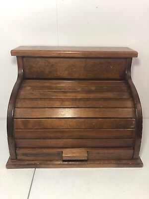 Vintage Wooden Roll Top Country Kitchen Bread Box Brown